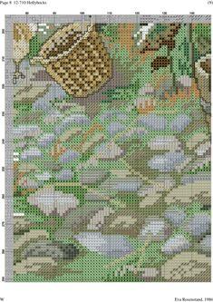 Hollyhocks 9 of 12 Counted Cross Stitch Patterns, Cross Stitch Designs, Cross Stitch House, Cross Stitch Landscape, Ribbon Work, Filet Crochet, Retro, Crossstitch, Cross Stitch Pictures