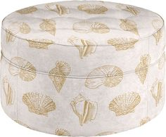 Seashell fabric ottoman by La-Z-Boy. They have 3 fabric choices for coastal and beach style living!
