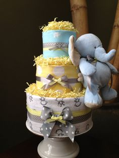 Neutral Modern Jungle Diaper Cake for a Baby Shower Centerpiece and New Baby Gift