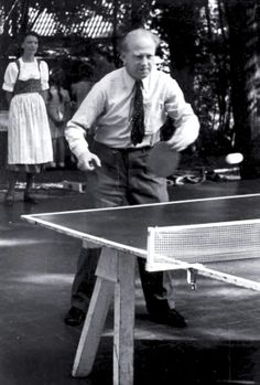 Werner Heisenberg with a table tennis bat