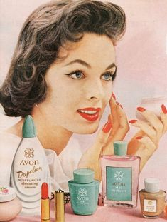 1950's Makeup Ad. Those product bottles look familiar.