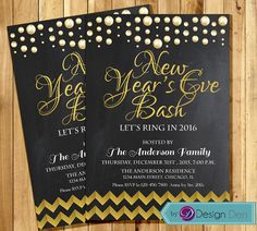 Wedding anniversary invitation or joint birthday invitationstring new years eve bash invitation gold chevron new by bydesignden stopboris Image collections