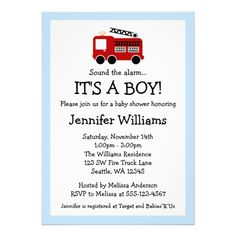 Fire Truck Boy Baby Shower Invitations