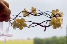 Купить Древесный венок с желтыми цветами - лимонный, желтый цветок, желтый, украшение для волос