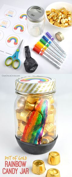 Rainbow Mason Jar St