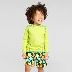 Toddler Boys' Long Sleeve Rash Guard Cat & Jack - Neon Yellow 5T, Green