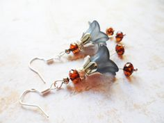 Sterling silver earrings with dark blue bell flowers and rust colour Swarovski crystal beads, bridal jewelry, Selma Dreams, bridesmaids gift by SelmaDreams on Etsy