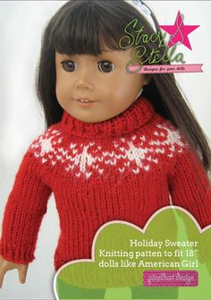 "Holiday Sweater Knitting Pattern 18"" Doll Clothes"