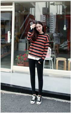 Giant Stripes Color Knit Tee | Korean Fashion                                                                                                                                                                                 More
