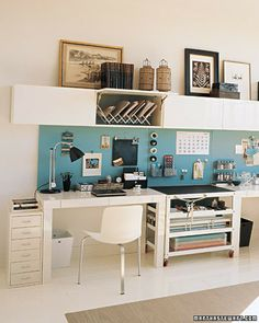 Home Office...like the groupings on top of the shelves...idea for the top of my armoire. - AC