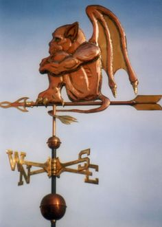 Gargoyl Copper handmade weathervane by West Coast Weather Vanes - photo… West Coast Weather, Lightning Rod, Weather Vanes, Nightlights, Dark Skies, Copper, Halloween, Antiques, Beautiful