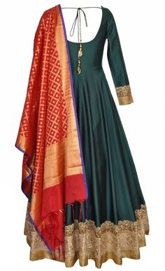 Bottle Green Floor Length anarkali with red benares dupatta Indian Gowns, Indian Attire, Pakistani Dresses, Indian Wear, Indian Outfits, Salwar Designs, Kurti Designs Party Wear, Blouse Designs, Dress Designs