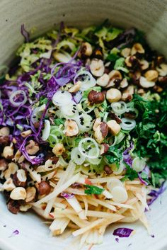Brussels Sprouts, Honeycrisp & Cabbage Slaw w/ Spicy Almond Butter Sauce   dolly and oatmeal