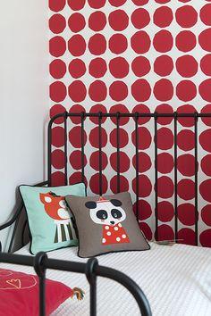 Kids room: Marimekko Wallpaper, Ferm Living Pillows,  Ikea Bed Interior Design: Apricus www.apricus.fi