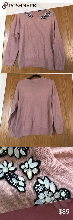 Pink J. Crew appliqué sweater Pink crew-neck J. Crew sweater with black and opalescent jewel appliqué around the collar. Brand new, still with tags! Very cute for winter or fall J. Crew Sweaters Crew & Scoop Necks