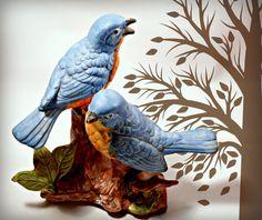 Vintage Home Vintage Porcelain Blue Birds on by ConstantlyAlice, $14.00