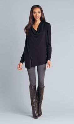 DOWNTOWN $250 Etcetera Fall 2014  210233 Rayon-blend jersey cowl-neck cardigan with shoulder zip closure.