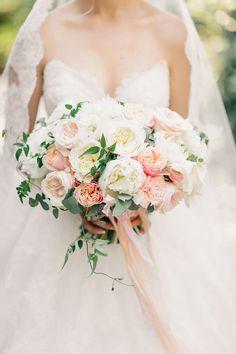 Romantic pink and white garden rose wedding bouquet: http://www.stylemepretty.com/2015/12/09/intimate-villa-wedding-in-montenegro/   Photography: Sonya Khegay - http://sonyakhegay.com/