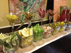 The Ultimate build your own Bloody Mary bar...don't like bloody Mary's but very cool idea for guests