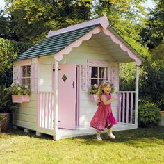Just like Hatties Wendy house Girls Playhouse, Backyard Playhouse, Build A Playhouse, Backyard Playground, Playhouse Ideas, Pink Houses, Little Houses, Kids Cubbies, Wendy House
