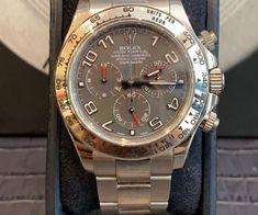ROLEXRolex Daytona - 116509 - Etat : Bon (Traces d'usure légères à visibles, rayures)  Année : 2011 Garantie : Vie Boitier : Or blanc Bracelet : Or blanc Luxury Watches, Rolex Watches, Bracelet Or, Oyster Perpetual, Rolex Daytona, Accessories, White Gold, Clock Art, Stripes