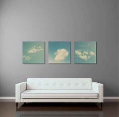 Sky Canvas Set, 15% OFF, Large Gallery Wraps, Blue Sky, Triptych, Vintage Feel, Fine Art Photography, Large Photo Canvas, 24x24 by StudioClaire on Etsy https://www.etsy.com/listing/190696279/sky-canvas-set-15-off-large-gallery