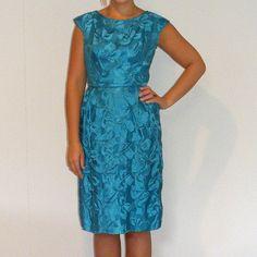 Vintage 1950s Dress 50s Teal Blue Silk Damask by daisyandstella, $52.00