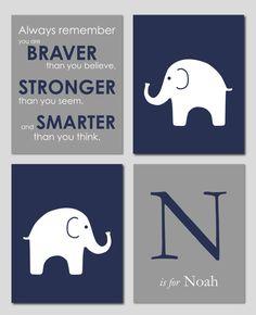 Navy and Gray Nursery Print Set  Elephant Nursery by karimachal, $45.00