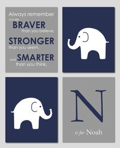 Elephant Nursery Art, Navy and Grey Nursery, Elephant Wall Art, Navy Nursery, You Are by karimachal