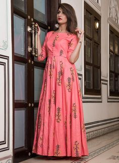 Pink Gown Pure Maslin Anarkali Pink Color Digital Print – Arabic attire  #muslimsalwarsuit #designerdress #islamicdressonline #salwarkameez #fancysalwarsuit #salwarsuit