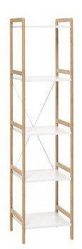 Hylly BROBY 5 hyllyä kapea bambu/valk.   JYSK