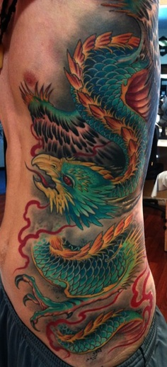 Phoenix dragon tattoo by Cory Norris of Grass Valley, CA