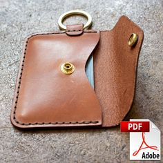 Leather Bags Handmade, Leather Craft, Diy Leather Gifts, Leather Working Patterns, Key Wallet, Diy Keychain Wallet, Leather Wallet Pattern, Bag Patterns To Sew, Pattern Sewing
