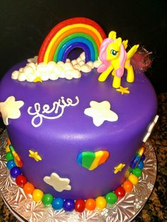 my little pony birthday cake | my little pony cake with rainbow white almond cake and a light ...