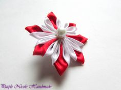 Red Star - Handmade Floral Broach by Purple Nicole (Nicole Cea Mov), red and white handmade kanzashi satin flower.