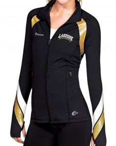 The Metallic VIP Jacket features metallic and white insert details, a full front zipper and side pockets with a zipper closure. Made with Poly/Spandex fabric.