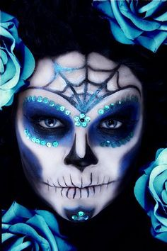 Blue Calavera sugar skull makeup for Mexican Day of the Dead
