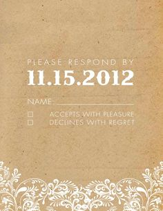 vintage country western rsvp card wedding