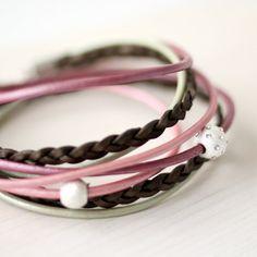 Rose Pink Mint Khaki Leather Wrap Bracelet by CalypteCollection