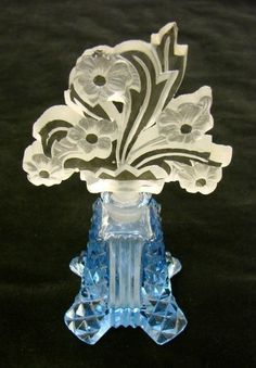 Fabulous Bohemian Cut Crystal Czech Art Deco Blue Glass Perfume Bottle
