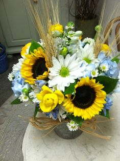 sunflower and hydrangia centerpeice   Sunflowers hydrangea white daisy centerpiece   Farm party