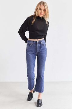 Slide View: 1: AGOLDE Taylor High-Rise Cropped Kick Flare Jean
