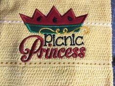 Picnic Princess applique Embroidery kitchen towel for parties