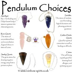 Rainbow Spirit crystal shop - Crystal healing choices for dowsing pendulums. A poster made by the crystal shop in Wadebridge Cornwall UK