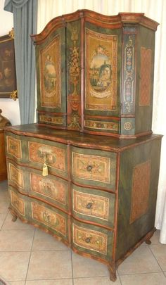 19th Century Painted Cabinet on Chest 2