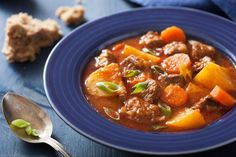 Crockpot Beef Stew Recipe Soups, Main Dishes with chuck roast, russet potatoes, carrots, onions, garlic, beef broth, celery, salt, pepper