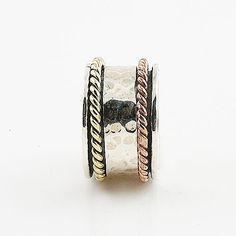 Spinner Ring - ThreeTone Hammered & Rope Design - keja Jewelry