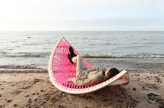 Lithuanian designer Agota Rimsaite& Panama Banana is a quirky outdoor, rocking hammock that can also be used as a soccer goal. Outdoor Loungers, Outdoor Hammock, Outdoor Blanket, Outdoor Decor, Hammock Ideas, Hammocks, Hammock Beach, Hammock Stand, Dock Hammock