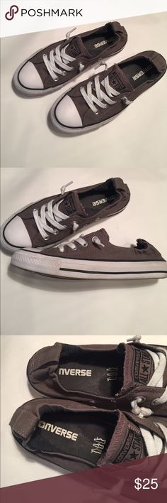 Converse Slip-On Women's Sneakers All Star Gray Excellent Converse sneakers, women's 7.5, Chuck Taylor Shoreline Slip-ons (elastic heel). Great summer shoes, in gray. Pre-owned but only worn a few times, needed to buy an 8 instead. A great deal! Converse Shoes Sneakers