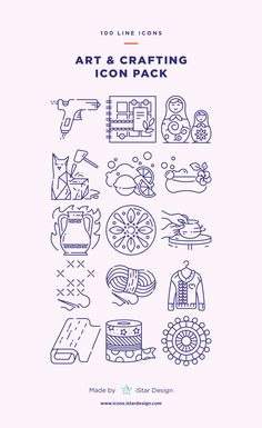 Art and Crafting Icons Set - Apss Internet Art, Virtual Art, Interactive Art, Plastic Art, Computer Animation, Environmental Art, Line Icon, Icon Design, Design Web